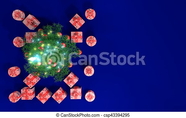 Christmas tree and gift boxes top view blue background 3d illustration - csp43394295