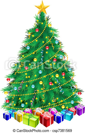 Christmas tree and gifts - csp7381569