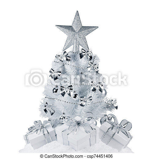 White Christmas Tree With Silver Decorations  from comps.canstockphoto.com