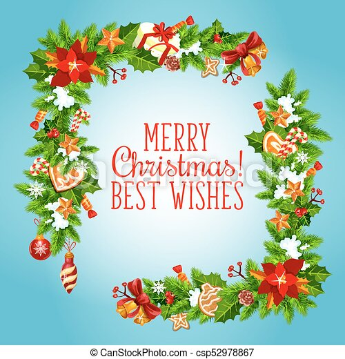 Christmas Tree And Holly Garland Greeting Card