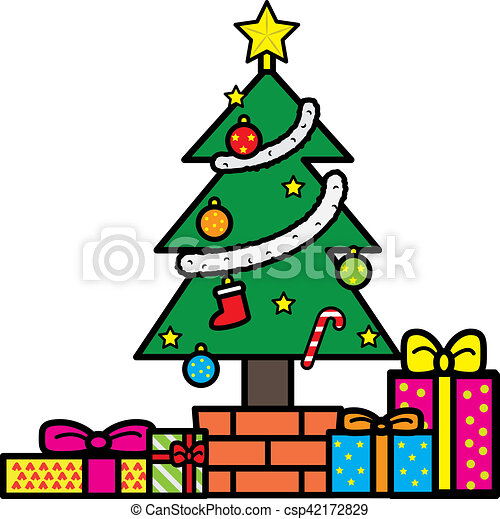 christmas tree and presents - csp42172829