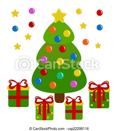 Christmas tree and presents - csp22298116