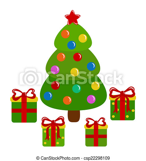 Christmas tree and presents - csp22298109