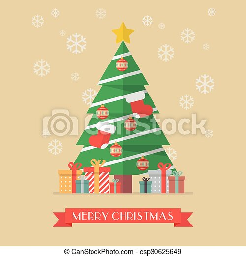 Christmas tree and presents - csp30625649