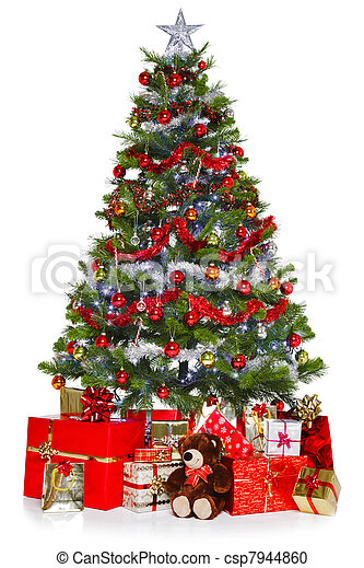 Christmas tree and presents isolated on white - csp7944860