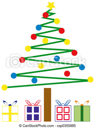 Christmas Tree and Presents - csp0355885