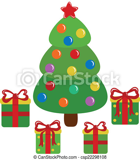 Christmas tree and presents - csp22298108