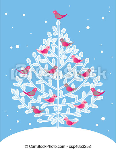 christmas tree and red birds csp4853252 - Red Bird Christmas Tree Decorations