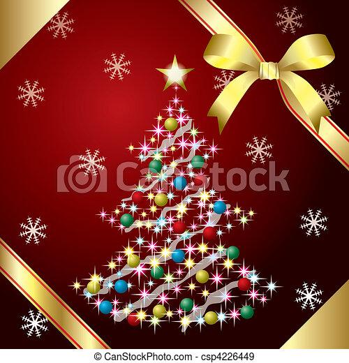 Christmas Tree and ribbon - csp4226449