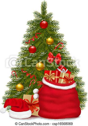 Christmas tree and santa bag with gifts. Vector illustration. - csp16568069