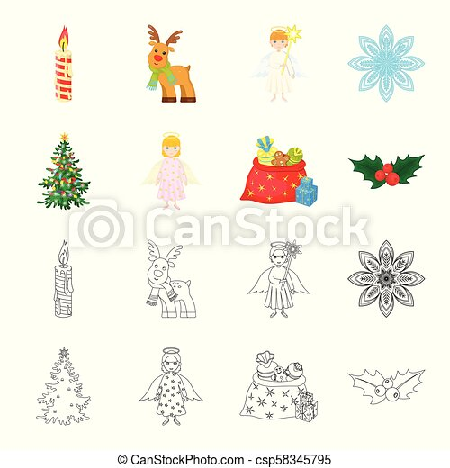 Christmas Tree Angel Gifts And Holly Cartoon Outline Icons In Set