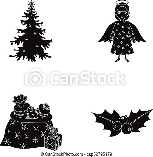 Christmas Tree Angel Gifts And Holly Black Icons In Set Collection For Design Christmas Vector Symbol Stock Web Illustration