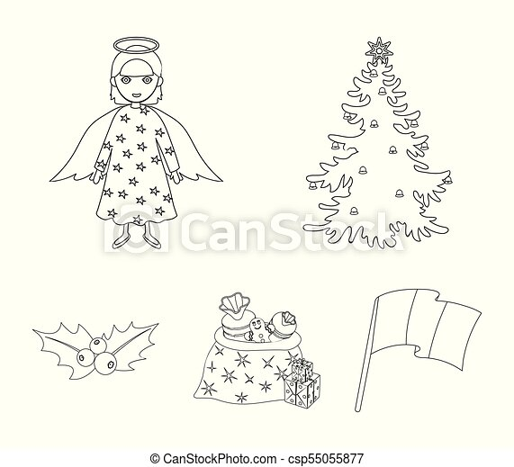 Christmas Tree Angel Gifts And Holly Outline Icons In Set