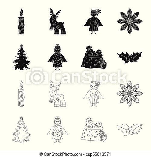 christmas tree angel gifts and holly black outline icons in set collection for design christmas vector symbol stock web can stock photo