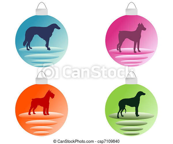 Christmas tree bauble with different dog motifs - csp7109840