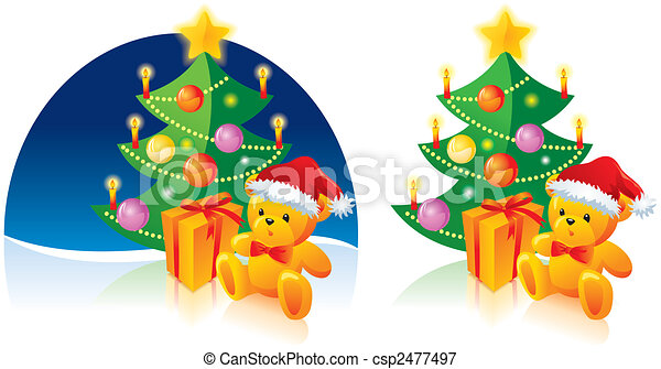 Christmas tree, bear and present - csp2477497