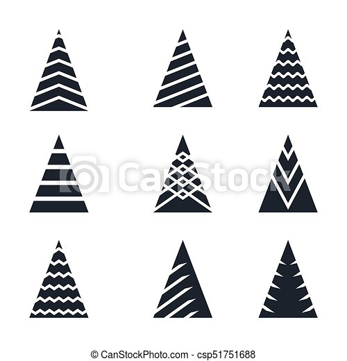 Christmas Tree Black Icon Set