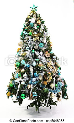 christmas tree blue green and gold csp5048388 - Green Christmas Tree With Blue Decorations