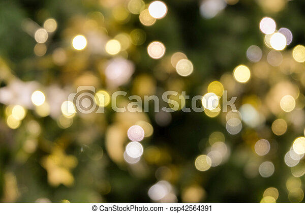 Green Christmas Lights.Christmas Tree Bokeh Light In Green Yellow Golden Color Holiday Abstract Background Blur Defocused