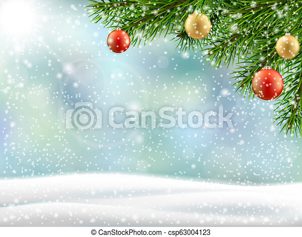 christmas tree branch winter landscape - csp63004123