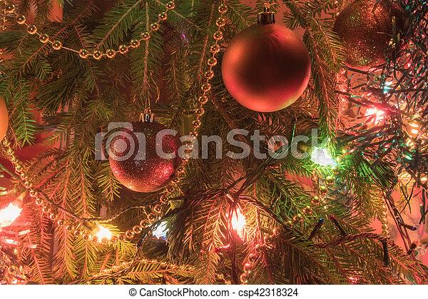Christmas Tree Branch With Christmas Ballsand Tinsel Garlands