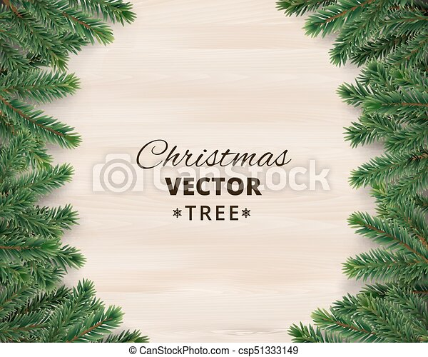christmas tree branches on wooden background vector illustration realistic fir tree border frame great for christmas cards banners flyers - Christmas Tree Branches