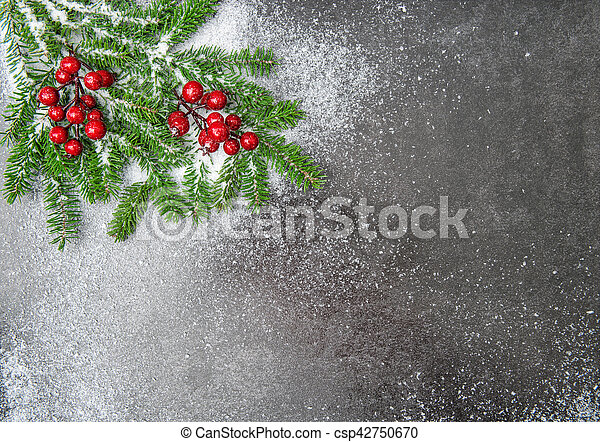 Christmas Tree Branches Red Berries Snow Decoration Christmas Tree