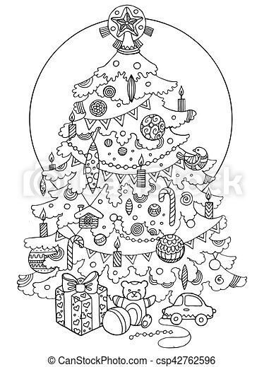 Christmas tree cartoon coloring book vector illustration.