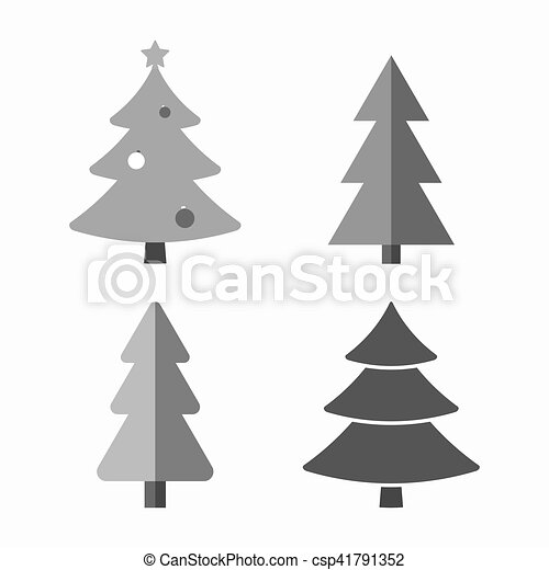 Christmas Tree Cartoon Icons Set