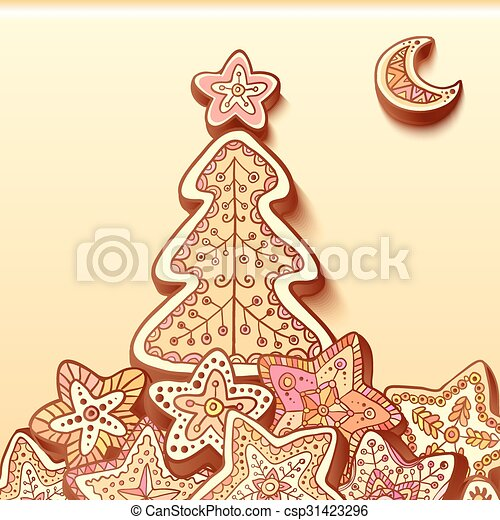 Christmas tree chocolate honey-cakes background - csp31423296