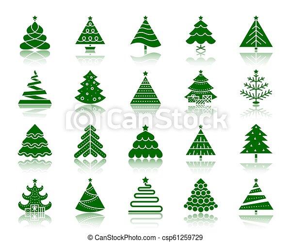 Christmas Tree Icons.Christmas Tree Color Silhouette Icons Vector Set