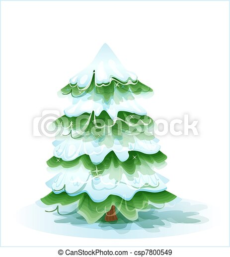 Christmas tree covered with deep snow - csp7800549