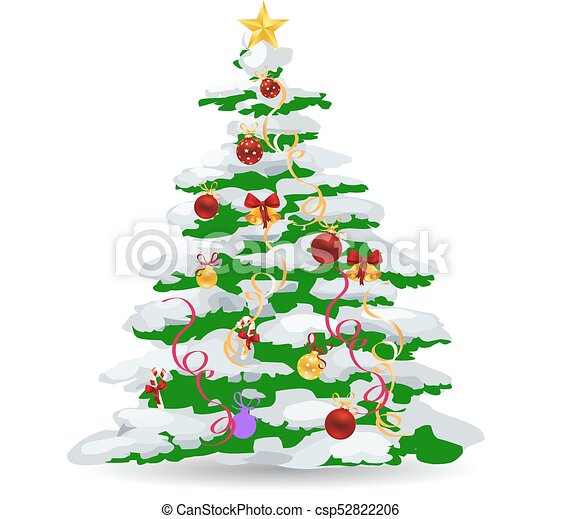 Christmas Tree Toys Decoration.Christmas Tree Covered With Snow Beautifully Decorated With Toys Cartoon On White Background