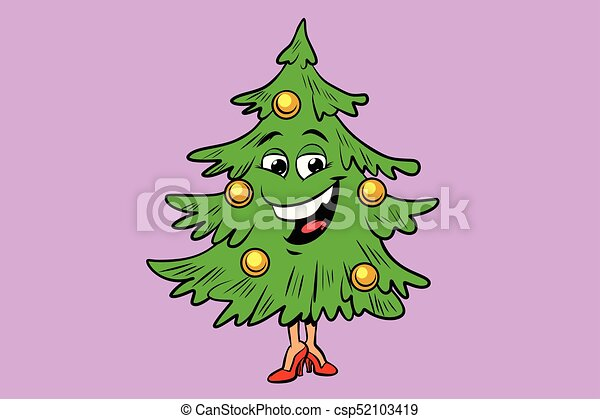 Christmas tree cute smiley face character. comic book ...