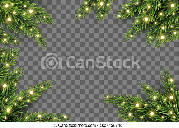 christmas tree decor with fir branches and lights on transparent background vector illustration can stock photo