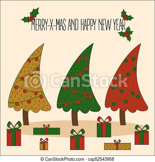 Christmas Chain Clipart.Christmas Tree Decorated Vector Illustration