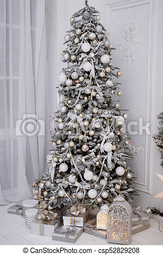 Gray Christmas Tree Decorations.Christmas Tree Decorated White Balls And Frost