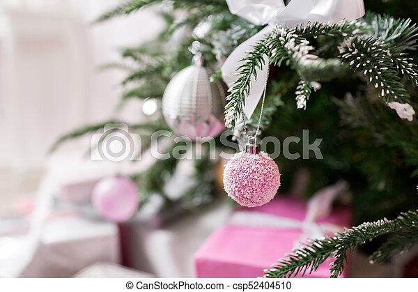 Christmas Tree Decorated With Toys In Silver And Pink Color In It We See The Balloons With Of Ribbons And Lights Glowing Garland