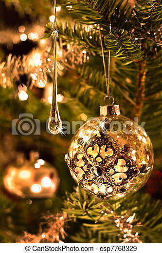 Christmas Tree Decoration In Silver And Glass With Lights Vertical