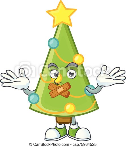 Christmas Tree Decoration Mascot Cartoon Character Style Making Silent Gesture Vector Illustration Canstock With heart snake fruit mascot cartoon. can stock photo