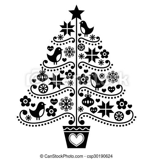 Christmas Tree Design Folk Style