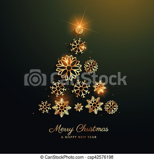 christmas tree design made with golden snowflakes decoration - csp42576198