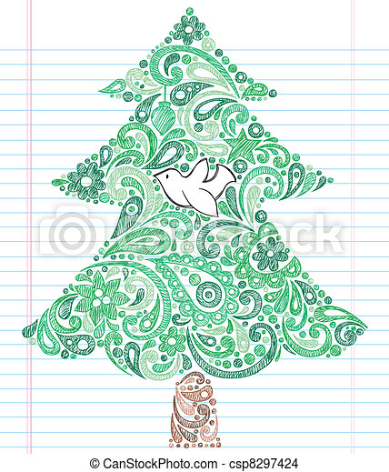 Christmas Tree Dove Sketchy Doodle - csp8297424