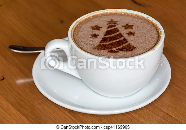 Coffee Christmas Tree.Christmas Tree Drawing On Latte Art Coffee Cup