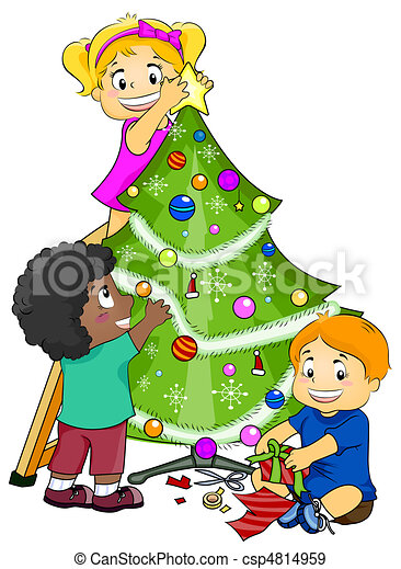 Illustration Featuring Kids Decorating A Christmas Tree