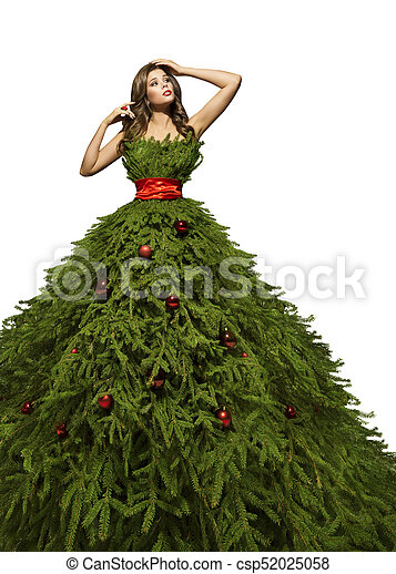 Christmas Tree Costume.Christmas Tree Dress Woman Posing In Xmas Fashion Model Gown New Year Girl Costume Isolated Over White Background