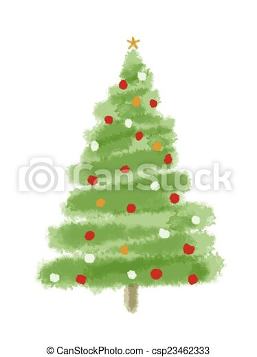 Christmas Tree Watercolor Christmas Tree Isolated On A White
