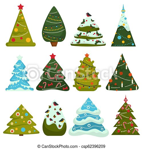 Christmas Tree Toys Decoration.Christmas Tree Evergreen Pine Decorated With Garlands And Toys