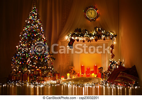 christmas tree fireplace lights decorated xmas living room csp23032201 - Decorating Living Room With Christmas Lights