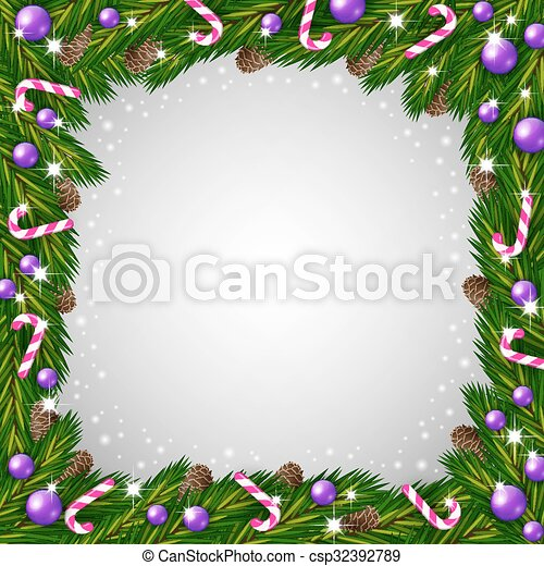 Illustration of a christmas tree frame and candy canes.